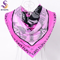 Ladies Letters Silk Scarf Shawl Accessories Large Square Scarves Wraps 90*90cm Spring Autumn Eiffel Tower Pink Satin Scarf