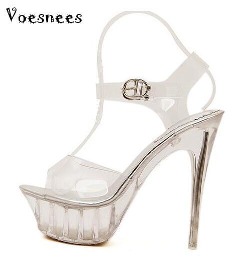 8f900a91a Sapatos de Verão Mulher Sexy salto alto Sapatos 14 cm Modelo Passarela  Sandálias Big size 35 43 Transparente À Prova D' Água sapato De Cristal Da  água em ...