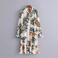OL 2018 Spring New Loose Casual Print Flowers Small Fresh V Neck Bow Vintage Dress