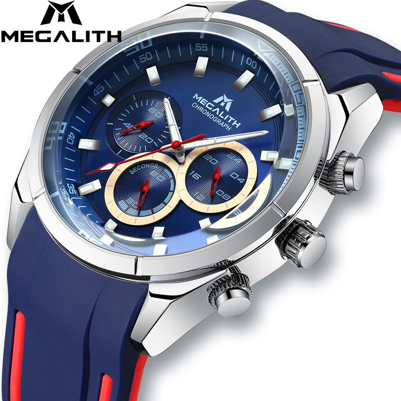 MEGALITH Sports Watch Men's Chronograph Analog Quartz Watch With Waterproof Date Silicone Rubber Strap Wristswatch For Man Clock