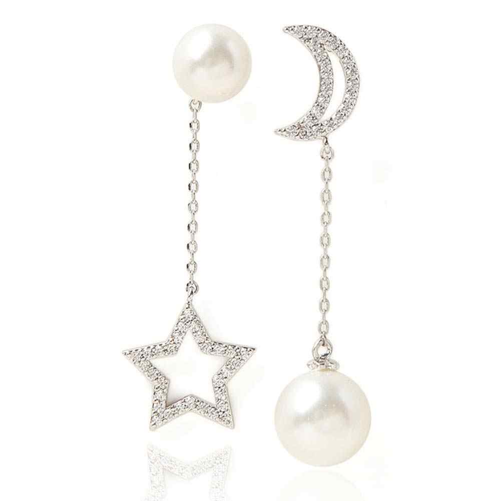 1 Pair Fashion Korean Sweet Star Moon Faux Pearl Rhinestone Ear Stud Asymmetrical Dangle Earrings