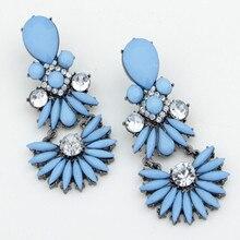 Hot fashion blue beaded waterdrop crystal dangle drop statement earring accessories for women