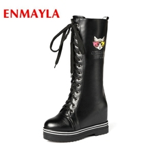 ENMAYLA 2018 New Fashion Winter Round Toe  Knee-High Basic Snow Boots Women Zapatos De Mujer Size34-40 LY077