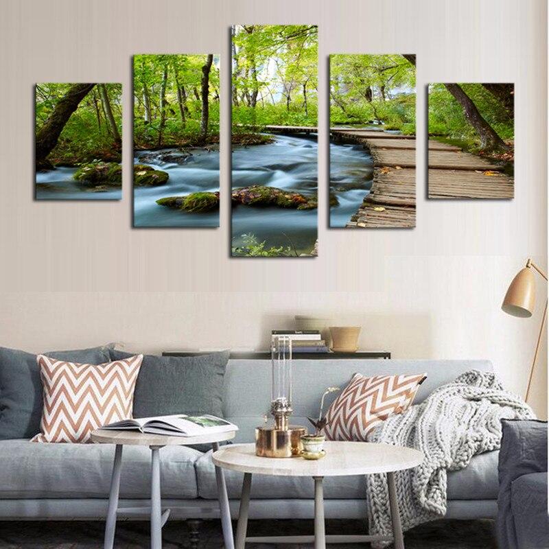 5 kusů moderní plátno dekorace Forest Stream plátno olejomalba umění P nástěnné obrázky pro tisk rámečku obývacího pokoje na zakázku