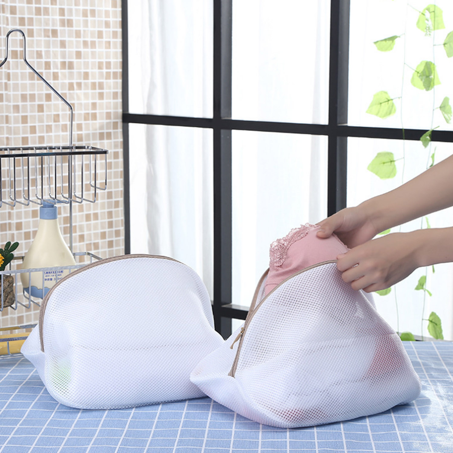 Double Layer Mesh Laundry Net Bag Storage Bags With Zip Closure For Washing Machine Clothes Bras Socks Shoes