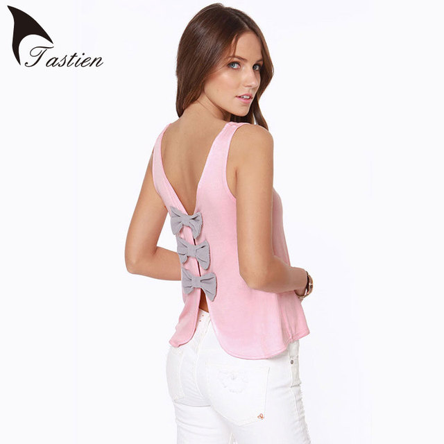 TASTIEN 2016 Summer New Fashion Bow Womens Tank Top Sexy Backless Sleeveless Tops Woman Vest Camisole EuropeStyle Slim Vest