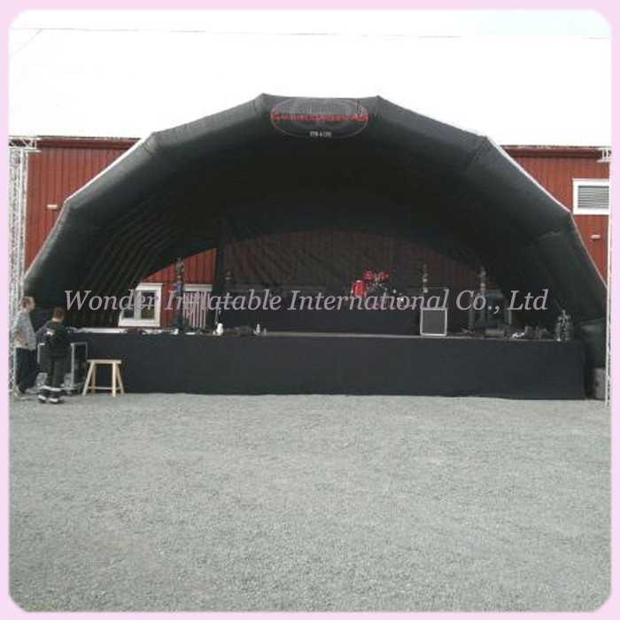 Hot sale oxford giant inflatable stage tent grey black ...