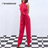 2019 fashion women rompers hot pink sleeveless full length jumosuits solid sashes chiffon summer pleated regular ladies playsuit