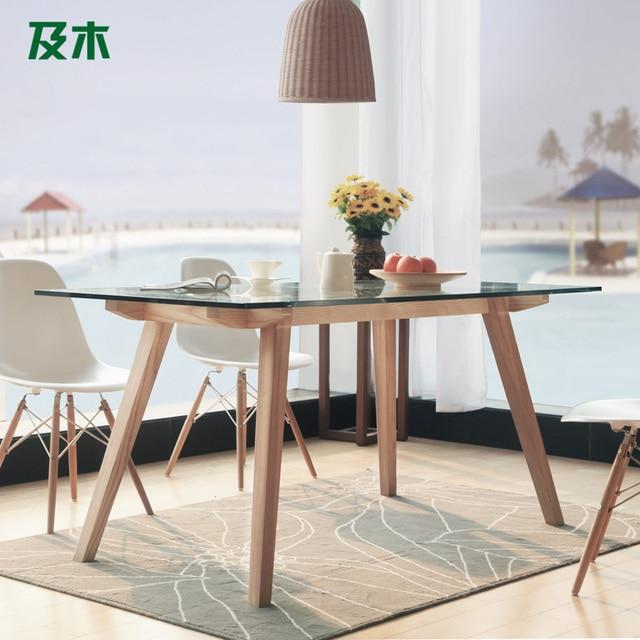 And Wood Furniture Modern Minimalist Nordic Rectangular Glass Dining