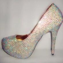 Fashion Handmade AB Crystal Rhinestone Bride Wedding Dress Shoes Women High Heel Shoes Beautiful Lady Evening Party Club Shoes