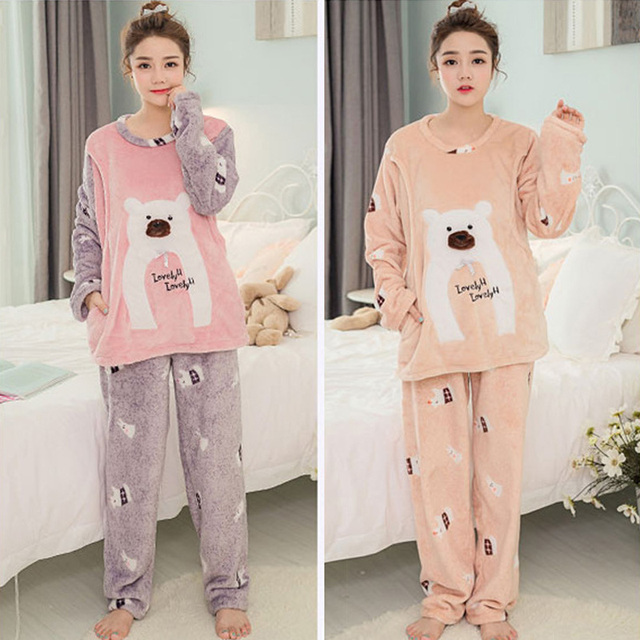Long Sleeve Cartoon Bear Thick Flannel Maternity Clothing Pajamas Sets Breast-Feeding Home Wear Nightwear Factory Price