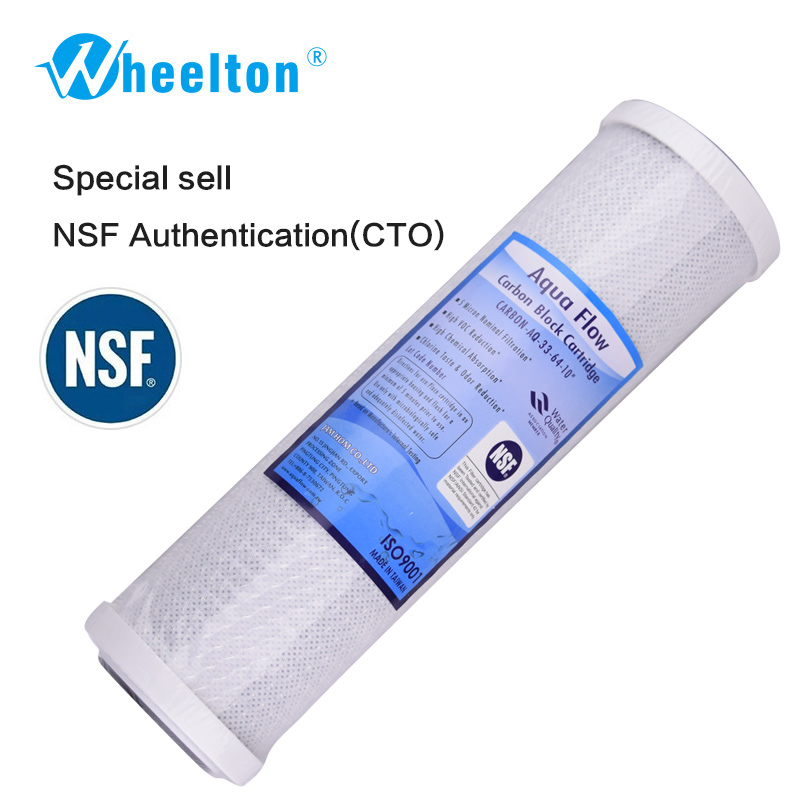 Wheelton Water Filter NSF Activated Carbon Cartridge Filter 10 Inch Cartridge Replacement Purifier 2pcs 20 universal water filter activated carbon cartridge filter 20 inch cto block carbon filter water purifier
