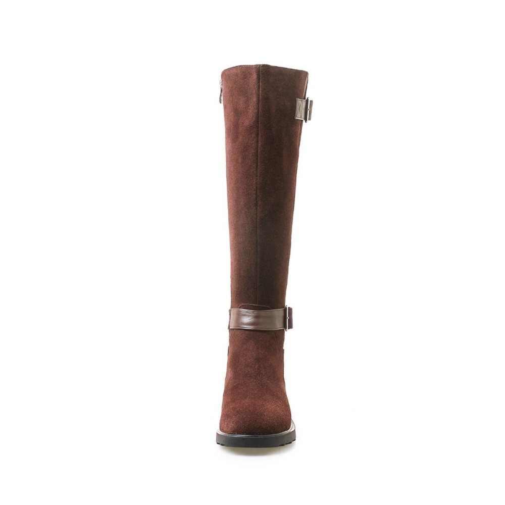 2018 суперзвезды Ретро дизайн пряжки ремни с круглым носком на низком толстом каблуке на молнии из натуральной кожи современные девушки сапоги до колена L38