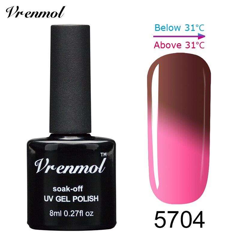 Vrenmol, 1 шт., меняющий цвет, замачиваемый УФ-гель, цвета, лак Verniz, Термальный, меняющий настроение, Гель-лак для ногтей - Цвет: 5704