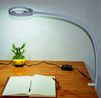 Led Lighted Magnifying Glass 5X Magnifier Desk Lamp with Adjustable Arm Illuminated Lens Magnified Light for Craft, Close Work