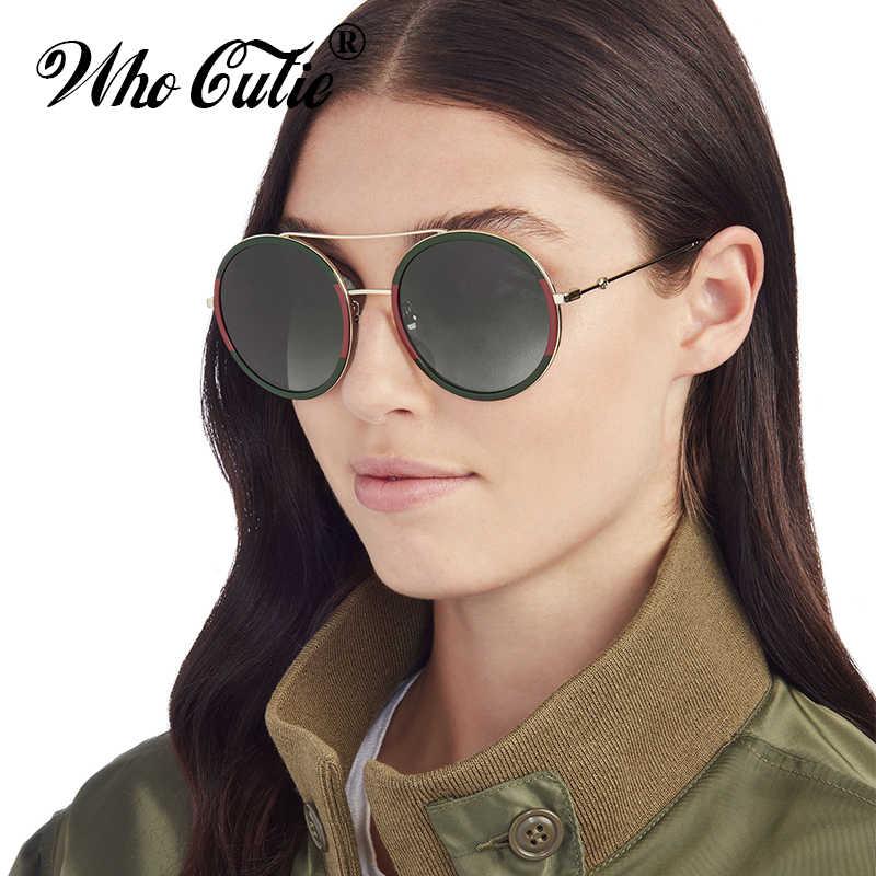 ee1e617fae WHO CUTIE 2018 Red Green Round Sunglasses Women Brand Designer Metal Frame  Female 90S Sun Glasses