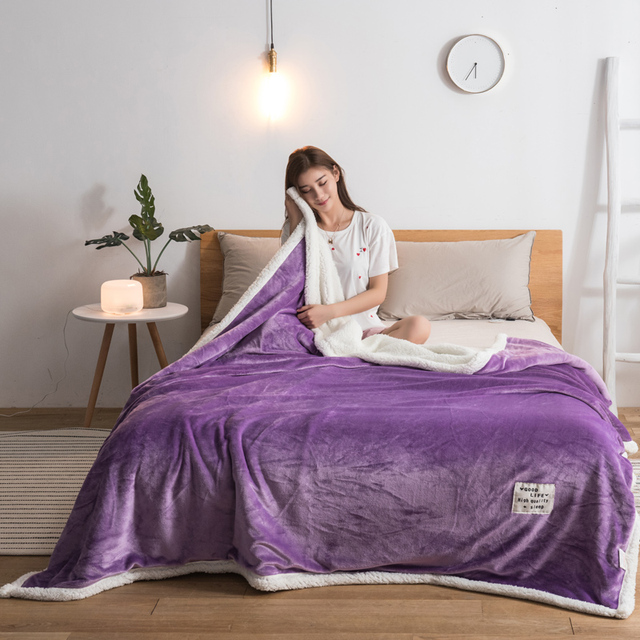Lambskin Large Warm Thick Christmas Throw Blanket Coverlet Reversible Fuzzy  on the sof Bed Cover purple white solid blankets eeb61d098
