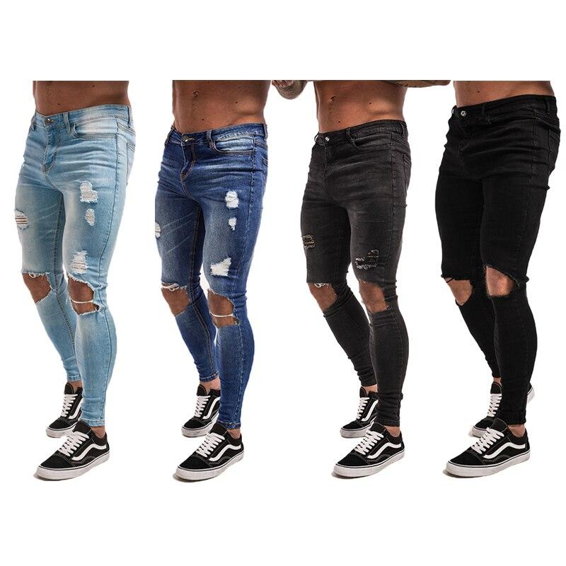 Gingtto männer Skinny Jeans Super Spray auf Leichte Baumwolle Ankle Engen Fit Zerrissene Repariert Schwarz Blau Grau Plus Größe 28-34