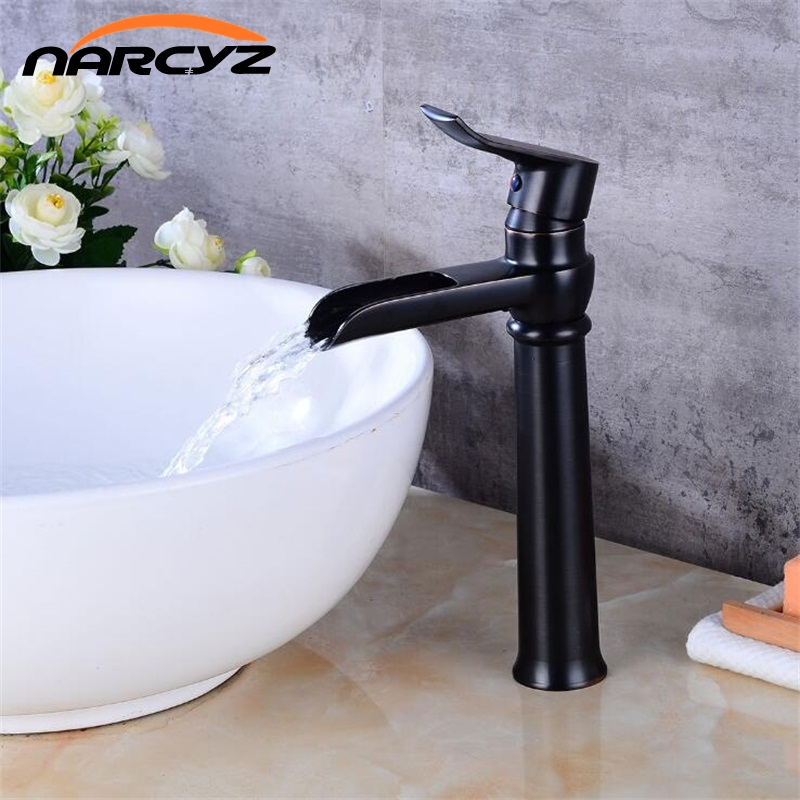 Free shipping Black Waterfall faucet Crane ORB Bathroom basin Faucet Bathroom Basin Mixer Tap with Hot and Cold mixer B535 bathroom basin faucet thermostatic bathroom crane water tap mixer with hand shower