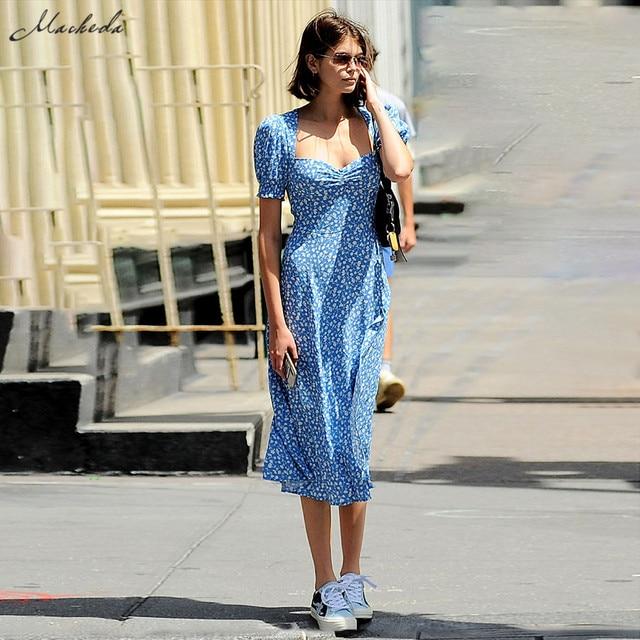 Macheda French Romance Retro Dresses Women Casual Floral Print Square Collar Dresses Ruffles Puff Sleeve Midi Dresses Lady 2019 1