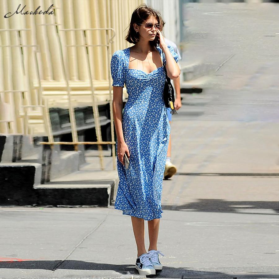 Macheda French Romance Retro Dress Women Casual Floral Print Square Collar Clothing Ruffles Puff Sleeve Midi Dresses Lady