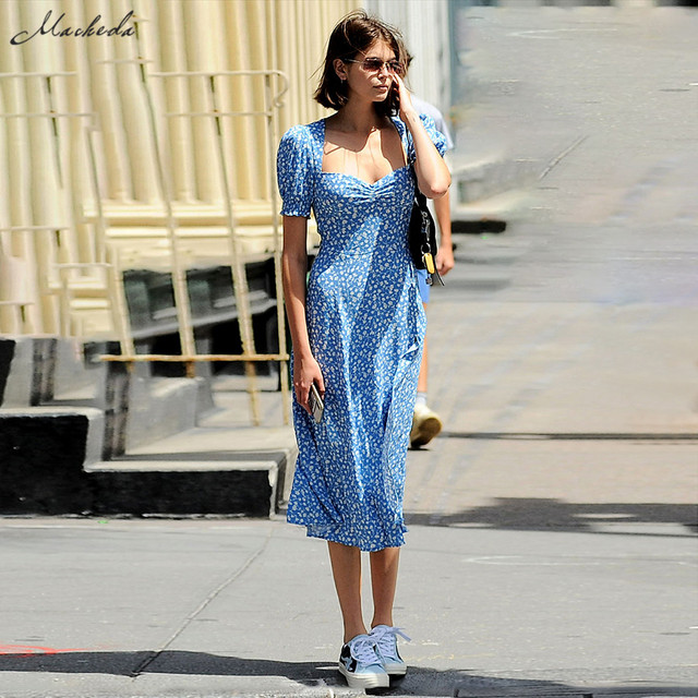 Macheda French Romance sukienki Retro kobiety na co dzień z kwiatowym nadrukiem kwadratowy kołnierzyk sukienki Ruffles bufiaste rękawy sukienki Midi Lady 2019