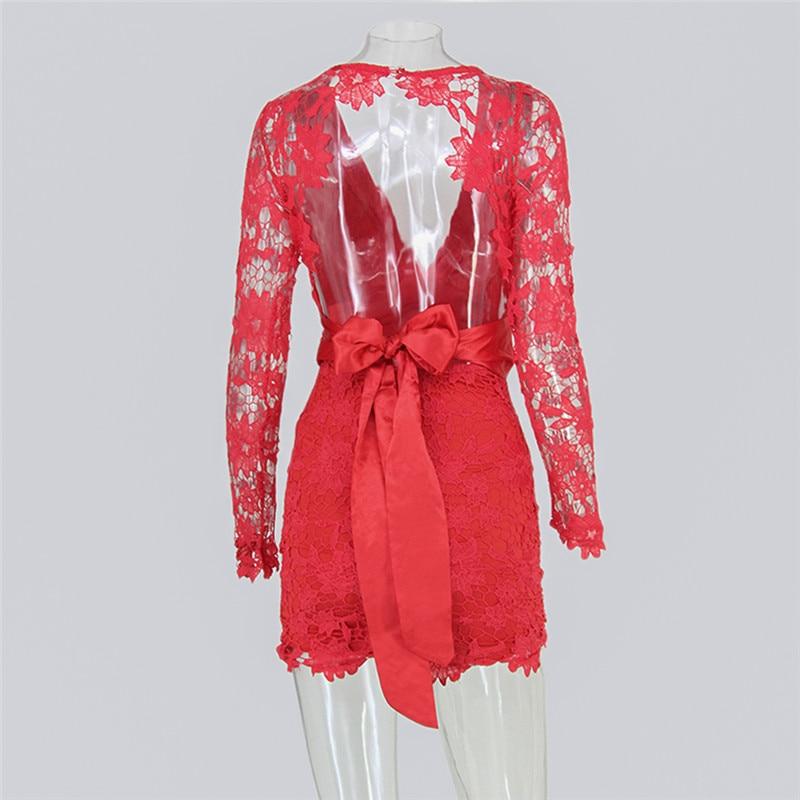 Hollow Out Lace Deep V-neck Halter Elegant Party Dress