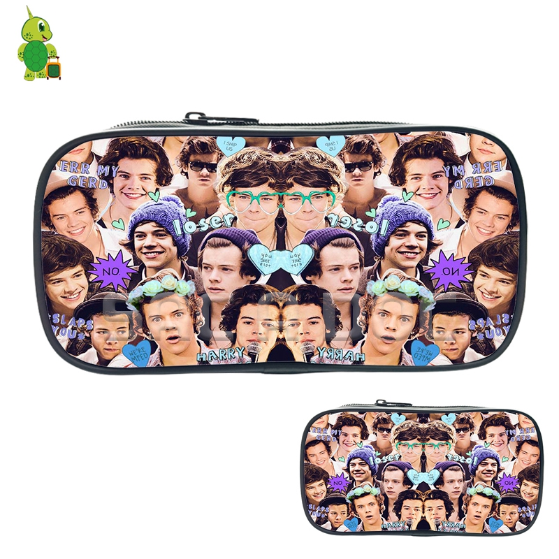 Famous Star One Direction Harry Styles Collage Cosmetic Bags Boys Girls School Storage Bags Purses Large Capacity Pencil Case