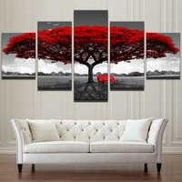 Модульный холст HD печатные плакаты домашний декор настенные художественные картины 5 шт. красное дерево художественные пейзажные картины р...