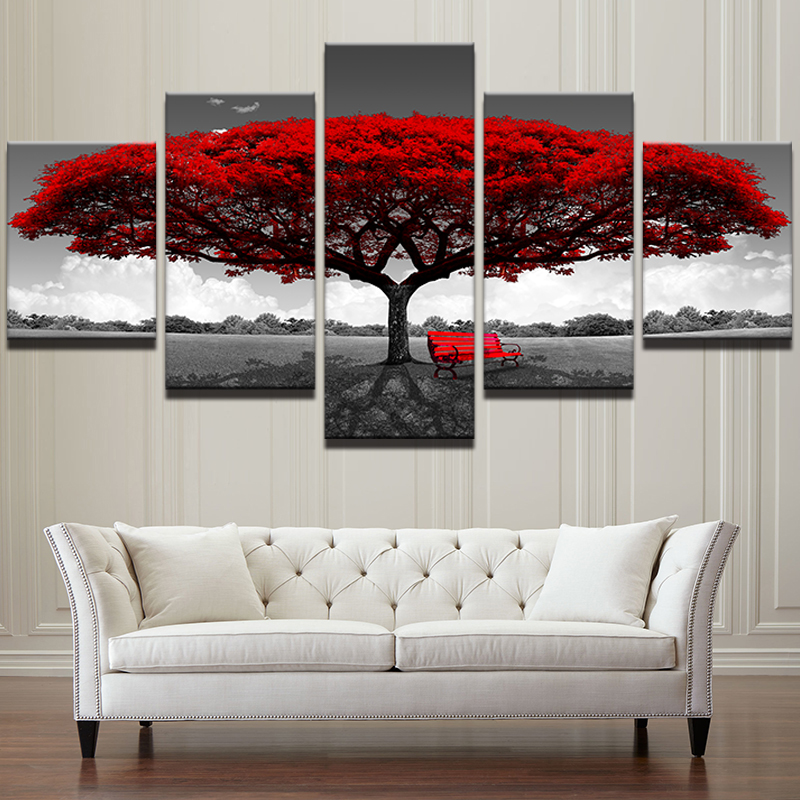 Modular Canvas HD Prints Posters Home Decor Wall Art Pictures 5 Pieces Red Tree Art Scenery Landscape Paintings Framework PENGDA цена 2017