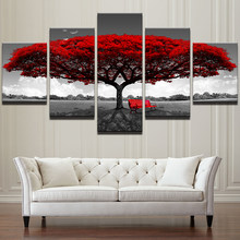 Modular Canvas HD Prints Posters Home Decor Wall Art Pictures 5 Pieces Red Tree Art Scenery Landscape Paintings Framework PENGDA(China)