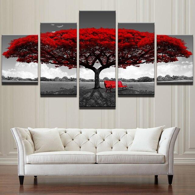Tela HD Imprime Cartazes Modular Home Decor Wall Art Pictures 5 peças Vermelho Árvore Arte Cenário Paisagem Pinturas Quadro PENGDA