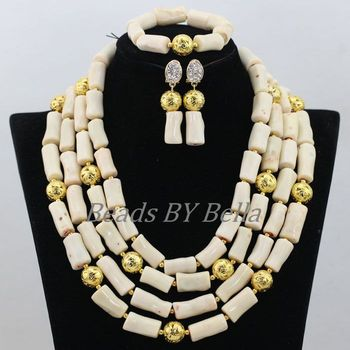 Nigerian Wedding African Coral Beads Bridal Jewelry Sets Women Costume White Coral Beads Necklace Jewellery Free Shipping ABF902