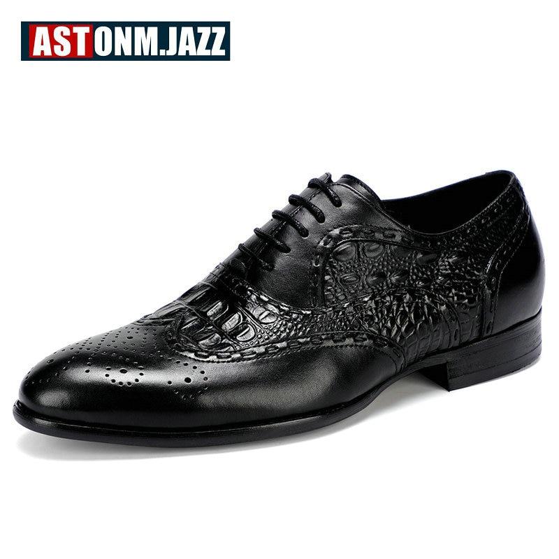 Hommes En Cuir de Casual Chaussures Hommes Chaussures Noir Crocodile Véritable Cuir Hommes Chaussures En Cuir Formelle Oxford Chaussures Pour Hommes Grand taille