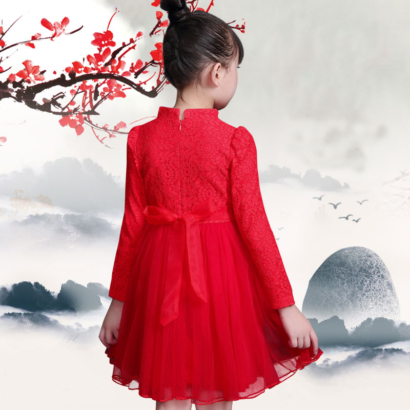5314ca56b Dress for girl Spring Autumn Lace Pink Red Chinese Style Princess ...