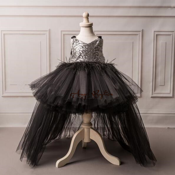 Bling silver sequin high low puffy girl evening prom dresses little princess baby 1st birthday party gown with black tulle train вечернее платье backless evening dresses sequin elie saab z2013122702