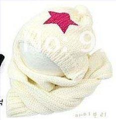 Розничная, комплект из шапки и шарфа для малышей, шерстяная шапка и шарф для малышей, зимняя детская шапка, вязаные шапки со звездой, вязаная шапка для детей - Цвет: white