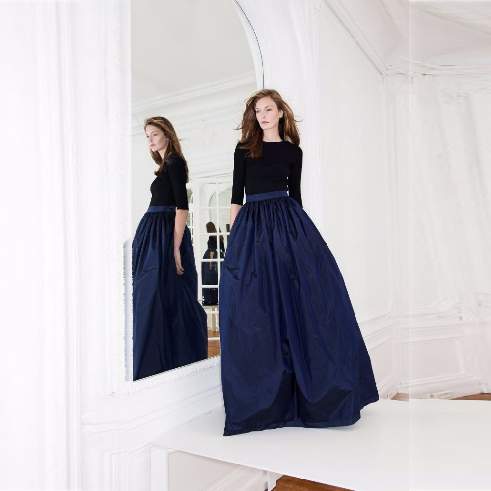 A Line Navy Blue Skirt - Skirts