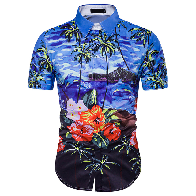 3620a1a7 New Men's 3d Printing Design Palm Beach Printing Slim Hawaiian Shirts Men  Short Sleeve Floral Shirt Men 3XL To M