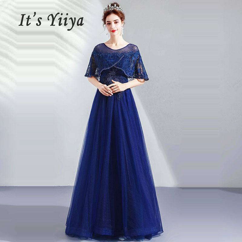 It's Yiiya   Evening     Dress   Boat Neck Women Party   Dresses   Crystal Robe De Soiree 2019 Plus Size Short Sleeve   Evening   Gowns E626