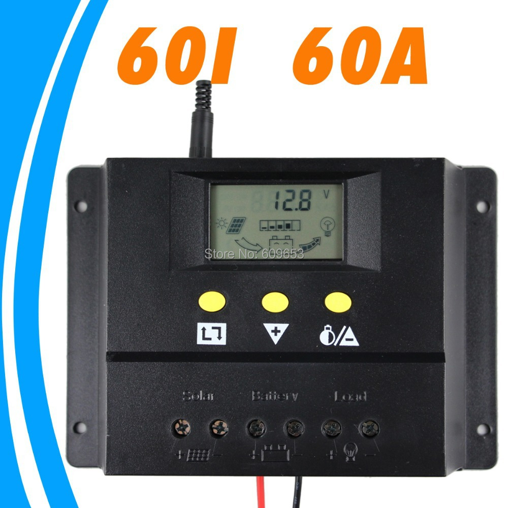 60A 12V Solar Controller 24V panel Battery Charge Controller Solar Home system indoor use LCD 60 Amps Solar Charge Controller костюмы cherubino костюм