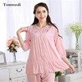 Pijamas Para As Mulheres de Seda de Algodão Verão Lazer Solto Mãe Conjunto de Pijama