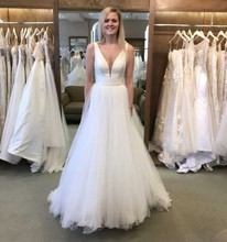 2019 A Line Sexy V Neck Beach Boho Wedding Dress Satin Top Tulle Skirt Backless Gown Bride Robe De Soiree