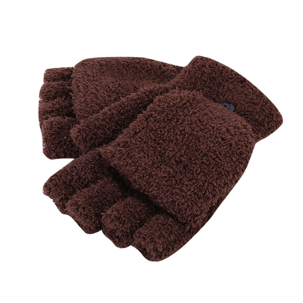 Men Women Fingerless Glove Winter Warm Half Finger Flip -9877