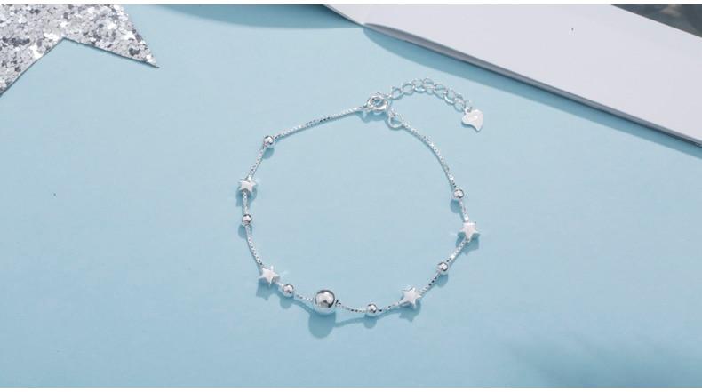 HTB1AHyYGN1YBuNjy1zcq6zNcXXaq SA SILVERAGE 925 Sterling Silver Charms Bracelets Bangles for Women 925 Silver Star Ball Chain Link Bracelets Pulseira Feminina