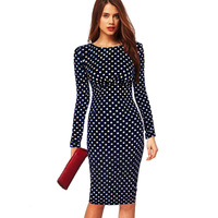Aamikast phụ nữ dresses dot formal hot bán bán buôn o-neck full sleeve knee-length pencil đảng cocktail dresses bodycon