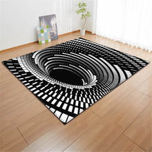 3D Geometric Swirl Decoration White Black Carpets Living Room Area Rug Soft Flannel Children Play Mats Rugs Big