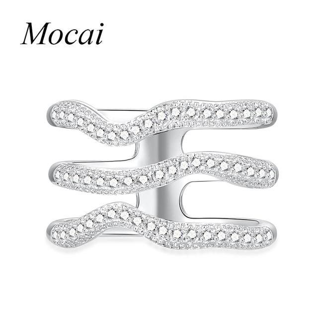 9878e11a528f Mocai plata color forma de onda ancho Anillos para las mujeres medio  cúbicos zircornia capas multi