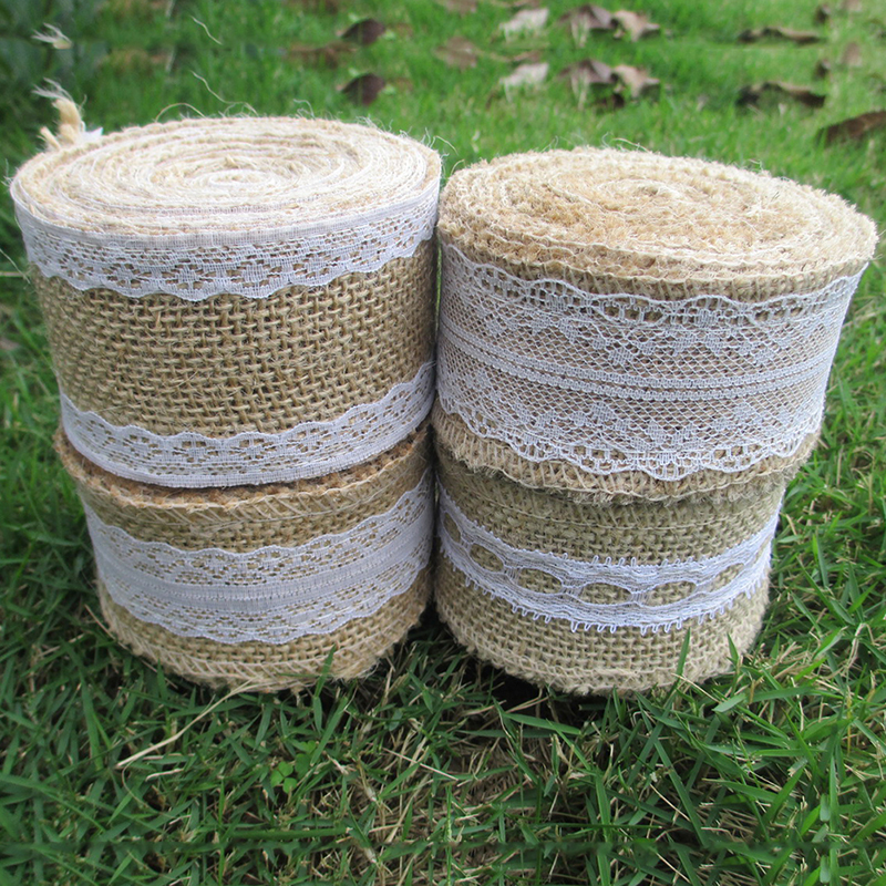 5m 5cm natural jute lace ribbon band diy handmade jute for Diy jute