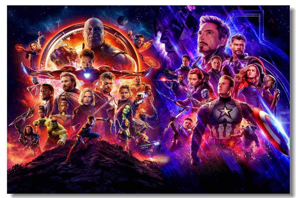 US $5 75 28% OFF|Custom Canvas Wall Decor Avengers End Game Poster Avengers  Infinity War Wall Stickers Mural Marvel Superheroes Wallpaper #0835#-in